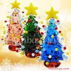 クリスマスツリー ミニチュア ガラス細工 飾り グラススクエア ドットツリー