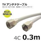 TVアンテナケーブル 30cm BS/CS/地上デジタル/4K/8K放送対応 同軸 両端接栓付き 4C-FF-0.3m