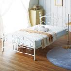 〔フレーム単品〕 アンティーク調アイアンベッド 〔セミダブルサイズ〕 ホワイト 床材:天然木 シャビーシック