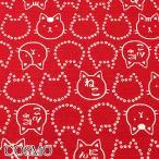 [AB7] コスモ 福福もっちり和柄なネコ C赤 10cm   AP-05907-2  ドビー生地