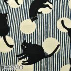 [AB6] コスモ 和柄縞模様とよろけねこ B青系×黒 10cm   AP-05705  ドビー生地