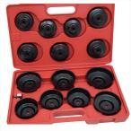 カップ型オイルフィルターレンチ14pcs  カップソケット型オイルフィルターレンチツール交換工具、12.7mm→9.5mm変換ソケットアダプター付き