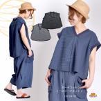 カットソー Tシャツ ノースリーブ 綿 Vネック ガーゼコットン メンズ レディース 大きいサイズ 和風 和レトロ アジアン エスニック