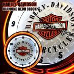 ショッピングハーレーダビッドソン HARLEY-DAVIDSON ハーレーダビッドソン バー&シールドロゴ ダイヤモンドプレート ネオンクロック 掛け時計