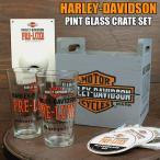ショッピングハーレーダビッドソン ハーレーダビッドソン HARLEY-DAVIDSON 木箱入りグラスセット アメリカ雑貨