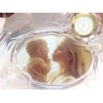 ホヤ HOYA クリスタル フォトフレーム 写真立て パール スタンド時計 クリアゴールド
