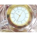 未使用品ホヤ HOYAクリスタル 時計 時計立て クリスタル スタンド時計 クリアゴールド その他 飾り