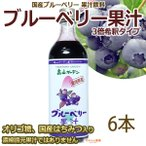 ブルーベリー 果汁 3倍希釈タイプ 6本 オリゴ糖はちみつ入り 国産ブルーベリー使用