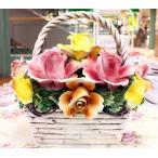 ショッピングイタリア イタリア製 陶花 薔薇のバスケット