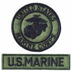 ミリタリーワッペン アメリカ海兵隊 丸型M-OD+MARINEタブ OD2Pセット