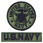 ミリタリーワッペン アメリカ海軍士官 丸型M-OD+NAVYタブ OD2Pセット