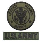 アメリカ陸軍 ミリタリーワッペン アメリカ陸軍丸型M-OD+ARMYタブ OD2Pセット