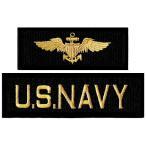 アメリカ軍 ミリタリーワッペン NAVY+海軍章 2Pセット