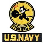 アメリカ海軍 ミリタリーパッチ F31トムキャッターズ+NAVY BL エンブレムワッペン