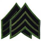 アメリカ陸軍 ミリタリーパッチ 三等軍曹ワッペン OD両肩用2Pセット