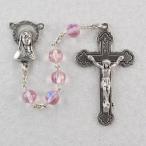 7 MM ローズ RosaryED カトリック キリスト教宗教クロス十字架ネックレス 正規輸入品