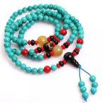 宝石内側 6 mm ブルー ターコイズ カトリック キリスト教 108 マラ数珠の祈りビーズ ブレスレット ジュエリー 28 インチ 正規輸入品