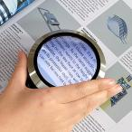 Yahoo!PREMIUMSTAGEルーペ LED 拡大鏡 デスク型ルーペ 拡大率5倍 虫眼鏡 ハンドルーペ ルーペ 携帯 メタルブラック