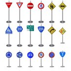Yahoo!marumaru-shop送料無料  新商品あり 種類豊富な道路標識 ミニチュア トラフィックン   台座支柱完成版セット   本物同素材、同デザインのミニチュア標識!