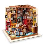 「ROBOTIME DIY ドールハウス 本で山積みのサムの本屋さん/SAM'S STUDY 朝と夜 手作りキット オモチャ 知育玩具 男の子」の画像