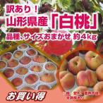 白桃 送料無料 訳あり!山形県産「白桃」品種、サイズおまかせ 約4kg