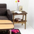 Rosie ロージー サイドテーブル アンティーク風 オイルステイン仕上げ 木製サイドテーブル 棚付き