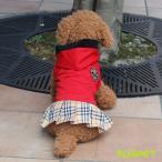 ショッピングチェック 犬のワンピース  レッド XLサイズ エンブレムがついたチェックスカートのワンピース 犬の服