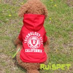 ショッピングトレーナー スポーツパーカー (レッド) Lサイズ カリフォルニアデザインのパーカー 犬の服