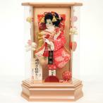 羽子板 初正月 花宴 パールピンク(ベビーピンク) つるし付き アクリル六角ケース 正絹花振袖 8号 ミニ コンパクト 正月飾り 羽子板飾り