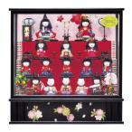 雛人形 コンパクト 木目込み 平安豊久 東宮 木目込み雛 十五人揃 オルゴール付き ガラスケース飾り