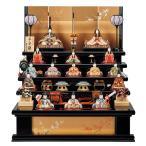 雛人形 コンパクト 木目込み 一秀 十五人飾り 平安雛 25-2号 木製五段セット 五段飾り LED雪洞付
