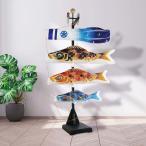 こいのぼり 鯉のぼり 京錦 1m 吹流し+鯉3匹 室内飾り(台付き)