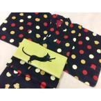 ショッピング柄 猫柄の袷(裏付き)着物 Lサイズ ブラック レッド イエロー 猫 小紋 プレタ小紋 猫の着物 袷着物 猫柄小紋 猫柄着物 ねこ着物 ねこ 女性用
