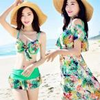 水着 体型カバー タンキニ ビキニ 3点セット フリル袖 花柄 水着 韓国風 ファッション 水着 スイムウェア セパレート 紫外線カット 水泳 女性用