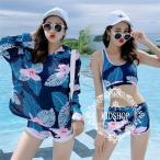 水着 体型カバー タンキニ ビキニ 3点セット ブラウス 長袖 葉柄 水着 韓国風 ファッション 水着 スイムウェア セパレート 紫外線カット 水泳 女性用