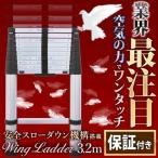 はしご 伸縮 梯子 アルミ 製 スローダウン安全装置搭載 安全ロック 3.2m 保証付き ハシゴ 軽量 スーパーラダー 洗車 高所作業 日本語説明書