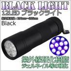 ブラックライト LED 懐中電灯 12灯 12LED ブラック シルバー ライト LEDライト LEDブラックライト ハンディライト