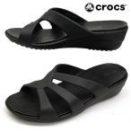 クロックス crocs Sanrah Strappy Wedge 204010-001 サンラ ストラッピー ウェッジ 黒 サンダル レディース