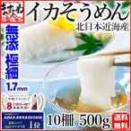 いか イカ スルメ 烏賊 無添加 無漂白 北日本近海産いかそうめん10柵500g 極細1.7mm 冷凍便 送料無料