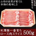 背肉 - 銘柄豚 米澤豚一番育ち ローススライス500g 豚肉