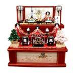 平安道翠作 舞雛五人飾り 63cm朱塗り準収納三段飾り コンパクト雛人形