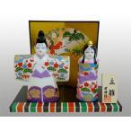 陶器のひな人形 雅錦彩立雛 白磁製ミニチュア置物 化粧箱入り