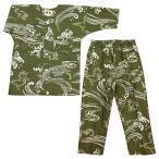 流水に花くす玉(サーモンピンク)1号〜3号サイズ(90〜110)子供鯉口シャツ上下組 義若オリジナル
