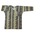 金彩 花くす玉(赤)巾広サイズ(3L) 大人鯉口シャツ 男女兼用 義若オリジナル