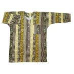 吉原家紋麻の葉縞(エンジ系)大人鯉口シャツ 男女兼用 義若オリジナル