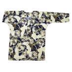 花くす玉尽くし(紫)巾広サイズ(3L) 大人鯉口シャツ 男女兼用 義若オリジナル