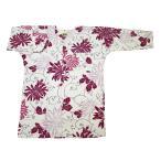 乱菊と唐草(白ピンク)巾広サイズ(3L)大人鯉口シャツ