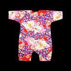 送料無料 雲どりに花(赤ピンク紫)0号サイズ(80) お祭りロンパース 義若オリジナル