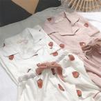 パジャマ イチゴ柄 レディース 春夏 半袖パジャマ  ショットパンツ  綿 ルームウェア上下セット パジャマ 可愛い 部屋着 パジャマ 安い