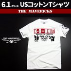 Tシャツ メンズ 半袖 アメカジ ミリタリー K9-UNIT 警察犬部隊 POLICEDOGモデル/白 ホワイト